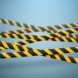 3d Caution lines isolated. Realistic warning tapes with blurred effect. Danger signs. Vector illustration isolated on royalty free illustration