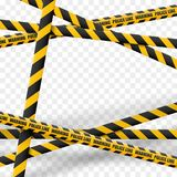 3d Caution lines isolated. Realistic warning tapes. Danger signs. Vector illustration isolated on checkered background. royalty free illustration
