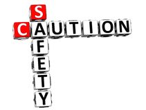 3D Caution Safety Crossword on white background.  Royalty Free Stock Photo