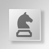 3D cavaliere Button Icon Concept Immagine Stock