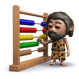 3d Caveman with an abacus Royalty Free Stock Photography
