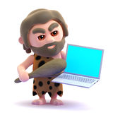 3d Caveman is angry with his laptop Royalty Free Stock Photos