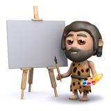 3d Caveman artist Stock Image