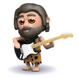 3d Caveman bawić się gitarę elektryczną Zdjęcie Stock