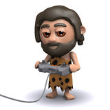 3d Caveman bawić się wideo grę Obrazy Stock