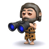 3d Caveman with binoculars Stock Photo