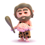 3d Caveman brain. 3d render of a caveman holding a brain Royalty Free Stock Photos