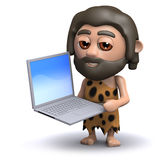 3d Caveman with computer Royalty Free Stock Image