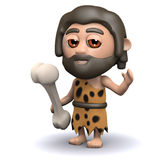 3d Caveman with dinosaur bone Royalty Free Stock Images
