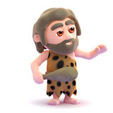 3d Caveman gestures to his left Royalty Free Stock Photo