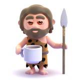3d Caveman has a coffee break Royalty Free Stock Photo