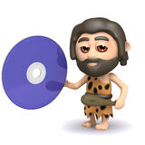 3d Caveman has a dvd Royalty Free Stock Image