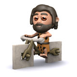 3d Caveman has a new bicycle Royalty Free Stock Photo