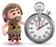 3d Caveman has a stopwatch Stock Photo