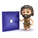 3d Caveman invents a square dvd Royalty Free Stock Photos