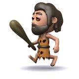 3d Caveman jogger. 3d render of a caveman running with his club in hand Stock Photography