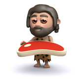 3d Caveman with a juicy raw steak Royalty Free Stock Images