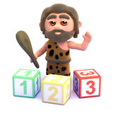 3d Caveman learns to count Stock Image