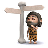 3d Caveman is lost Stock Photography