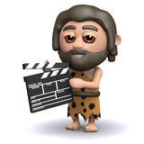 3d Caveman makes a movie Stock Photography