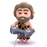 3d Caveman plays video games Royalty Free Stock Photography