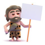 3d Caveman protests Stock Photo