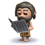 3d Caveman reads a newspaper Stock Image