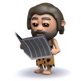 3d Caveman reads a newspaper stock illustration