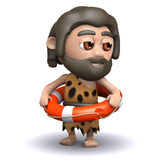 3d Caveman is ready for the sea Royalty Free Stock Image