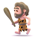 3d Caveman running with club in hand Royalty Free Stock Photos