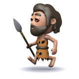 3d Caveman running with a spear Royalty Free Stock Photography