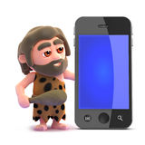 3d Caveman smart phone Royalty Free Stock Images