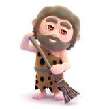 3d Caveman sprząta jego jamę z miotłą ilustracja wektor