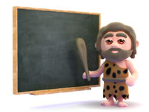 3d Caveman teacher Stock Image