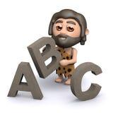 3d Caveman uczy się abecadło Obraz Royalty Free