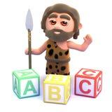 3d Caveman uczy się abecadło Obrazy Stock
