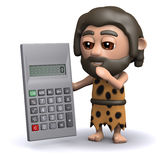 3d Caveman using a calculator Royalty Free Stock Photo