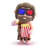 3d Caveman watches a movie while eating popcorn Royalty Free Stock Photos