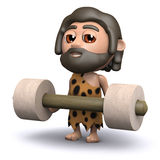 3d Caveman weightlifter Royalty Free Stock Images