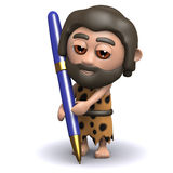 3d Caveman writing with a pen Royalty Free Stock Photography
