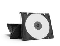 3D CD cases open on white background Stock Photo