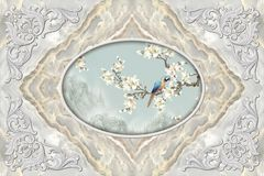 3d ceiling murals wallpaper, stucco decor frame, parrot on a flowery branch in the middle on grey marble background. 3d wallpaper stock illustration