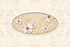 3d ceiling murals wallpaper, stucco moulding on marble background. vector illustration