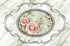 3d ceiling, stucco decor frame, stone roses in the middle on marble background royalty free illustration