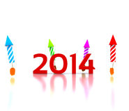 2014 - 3D. Celebrate the new year - 2014 royalty free illustration