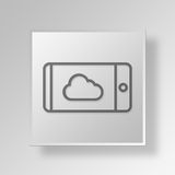 3D Cell Phone Cloud icon Business Concept. 3D Symbol Gray Square Cell Phone Cloud icon Business Concept Royalty Free Stock Photography