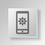 3D cell phone settings icon Business Concept Stock Image
