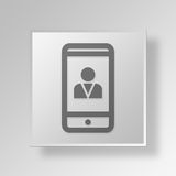 3D Cell Phone User icon Business Concept. 3D Symbol Gray Square Cell Phone User icon Business Concept Stock Photos