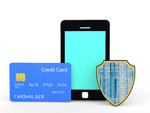 3d cellphone credit card and shield Stock Photos