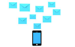 3d cellphone and envelopes Royalty Free Stock Photos